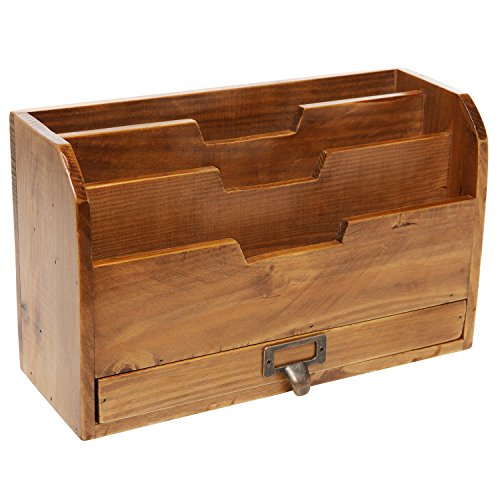 3-Tier-Country-Rustic-Wood-Office-Desk-File-Organizer-Mail-Sorter-Tray-Holder-w-Storage-Drawer-0