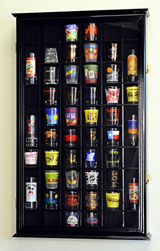 54-Shot-Glass-Shotglass-Shooter-Display-Case-Holder-Cabinet-Wall-Rack-98-UV-with-Locks-0