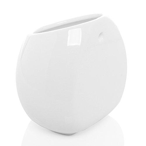 6-Inch-White-Ceramic-Wall-Mounted-Hanging-or-Freestanding-Decorative-Flower-Planter-Vase-Holder-Display-0-1