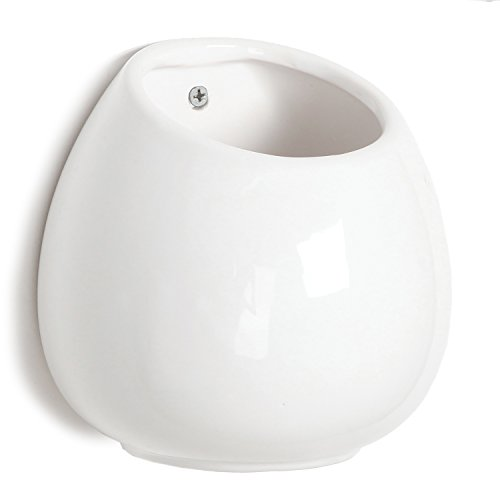 6-Inch-White-Ceramic-Wall-Mounted-Hanging-or-Freestanding-Decorative-Flower-Planter-Vase-Holder-Display-0