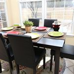 7-pc-Espresso-Leather-Brown-6-Person-Table-and-Chairs-Brown-Dining-Dinette-Espresso-Brown-Parson-Chair-0