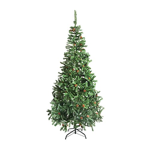 ALEKO-CTPC71H17-Luscious-6-Feet-Christmas-Tree-With-White-Tips-and-Decorative-Pine-Cones-Artificial-Holiday-Pine-Tree-Indoor-Holiday-Decor-0