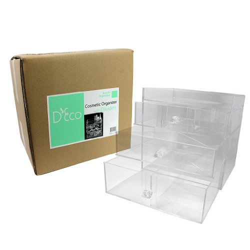 Acrylic-Cosmetic-Organizer-with-3-Drawers-Removable-Dividers-and-Top-Shelf-by-DEco-0-0