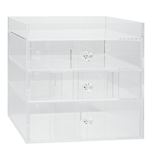 Acrylic-Cosmetic-Organizer-with-3-Drawers-Removable-Dividers-and-Top-Shelf-by-DEco-0-1