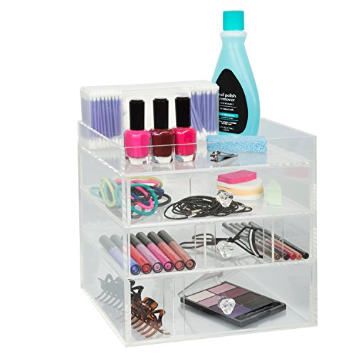 Acrylic-Cosmetic-Organizer-with-3-Drawers-Removable-Dividers-and-Top-Shelf-by-DEco-0