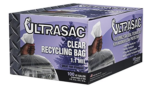 Aluf-Plastics-719956-Ultrasac-Heavy-Duty-Professional-Quality-Recycling-Trash-Bag-45-Gallon-Capacity-46-Length-x-40-Width-Clear-Case-of-100-0