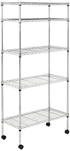 AmazonBasics-5-Shelf-Shelving-Unit-on-Wheels-Chrome-0