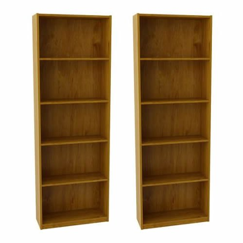Ameriwood-Set-of-2-Bundle-5-shelf-Bookcases-Choice-of-White-Black-Espresso-Ruby-Red-and-Alder-Adjustable-Shelves-Decorative-and-Contemporary-Harmonizes-Well-with-Most-Decor-Styles-Use-in-Living-Room-F-0