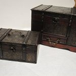 Antique-Looking-Wood-Faux-Leather-Jewelry-Box-Treasure-Chest-Set-of-2-0-0
