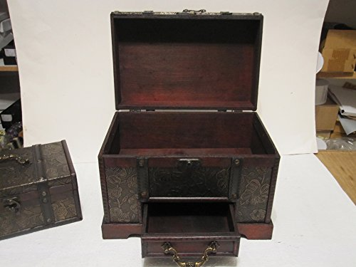 Antique-Looking-Wood-Faux-Leather-Jewelry-Box-Treasure-Chest-Set-of-2-0-1
