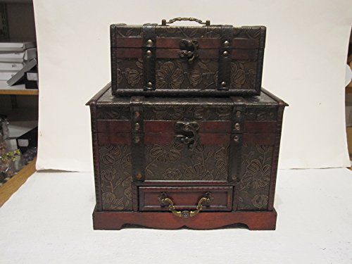 Antique-Looking-Wood-Faux-Leather-Jewelry-Box-Treasure-Chest-Set-of-2-0