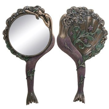 Art-Nouveau-Collectible-Mermaid-Hand-Mirror-Nymph-Decoration-0