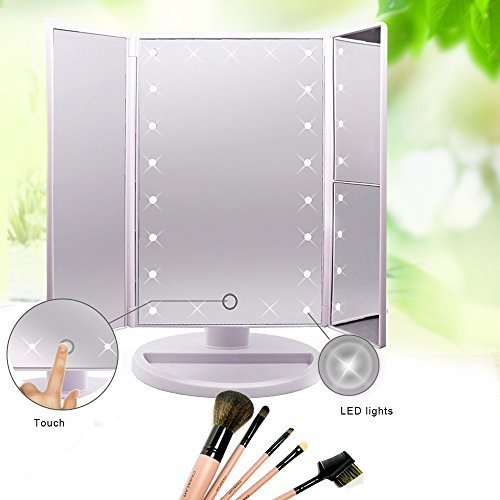 Artifi-Lighted-Makeup-Mirror-with-Light-Tri-Fold-Illuminated-Cosmetic-Mirror-Rectangular-Makeup-Light-Vanity-Mirror-with-3X2X1X-Magnification-Movable-Two-Power-Supply-Mode21-Super-Bright-LED-0-0