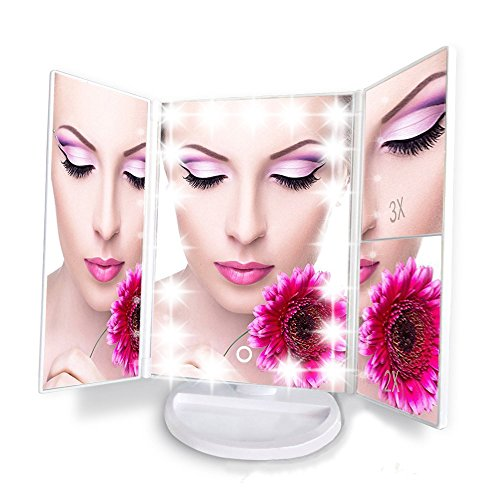 Artifi-Lighted-Makeup-Mirror-with-Light-Tri-Fold-Illuminated-Cosmetic-Mirror-Rectangular-Makeup-Light-Vanity-Mirror-with-3X2X1X-Magnification-Movable-Two-Power-Supply-Mode21-Super-Bright-LED-0