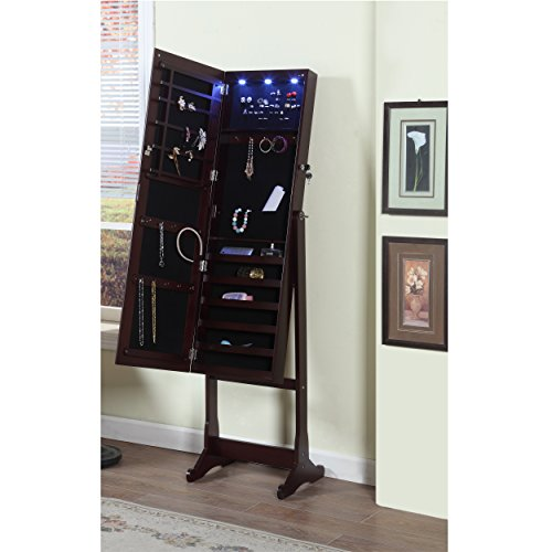 Artiva-USA-Espresso-Wood-Finish-Free-Standing-Cheval-Mirror-and-Jewelry-Armoire-Display-with-LED-Light-and-Key-Lock-Organize-Accessory-Beautiful-Functional-Home-Decor-Solid-Construction-Jewelry-Holder-0-0