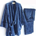 AutumnWinter-Mens-Kimono-Pajamas-Warm-Flannel-Khan-Steamed-ClothesBlue-0-0