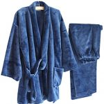 AutumnWinter-Mens-Kimono-Pajamas-Warm-Flannel-Khan-Steamed-ClothesBlue-0