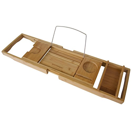 Bamboo-Bathtub-Caddy-with-Arms-That-Extend-From-29-Up-To-43-Inches-Bathtub-Tray-Large-Wine-Glass-Holder-iPhone-Slot-Collapsible-Book-and-iPad-Holder-and-Removable-Accessories-Tray-0
