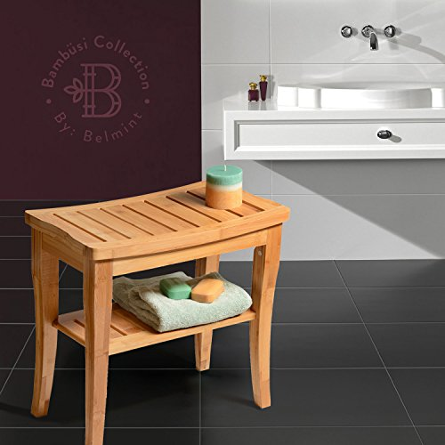 Bambsi-by-Belmint-100-Deluxe-Bamboo-Shower-Seat-Bench-with-Storage-Shelf-0-1