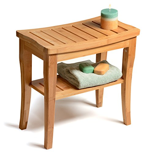 Bambsi-by-Belmint-100-Deluxe-Bamboo-Shower-Seat-Bench-with-Storage-Shelf-0