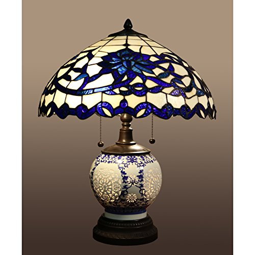 Beautiful-and-Elegant-Indoor-Flower-Design-Akiko-3-light-Blue-Glass-21-Inch-Double-Lit-Tiffany-Style-Table-Lamp-DYL451-743-Stained-Glass-Table-Lamp-Assembly-Required-0-0