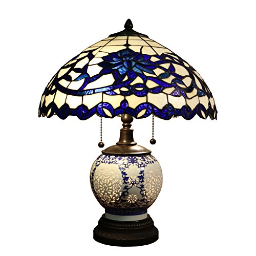 Beautiful-and-Elegant-Indoor-Flower-Design-Akiko-3-light-Blue-Glass-21-Inch-Double-Lit-Tiffany-Style-Table-Lamp-DYL451-743-Stained-Glass-Table-Lamp-Assembly-Required-0