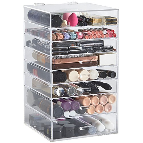 Beautify-Extra-Large-8-Tier-Clear-Acrylic-Cosmetic-Makeup-Cube-Organizer-with-7-Drawers-Upper-Compartment-2-Removable-Dividers-20-x-12-x-12-inches-0