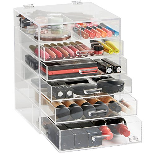 Beautify-Large-6-Tier-Clear-Acrylic-Cosmetic-Makeup-Cube-Organizer-with-5-DrawersUpper-Compartment-and-Removable-Divider-118-x-945-x-945-inches-0-0