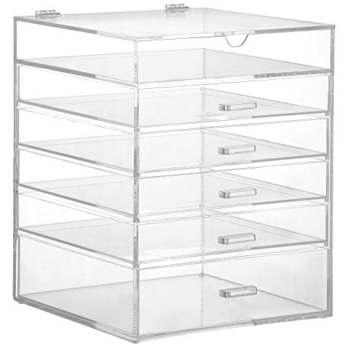 Beautify-Large-6-Tier-Clear-Acrylic-Cosmetic-Makeup-Cube-Organizer-with-5-DrawersUpper-Compartment-and-Removable-Divider-118-x-945-x-945-inches-0-1