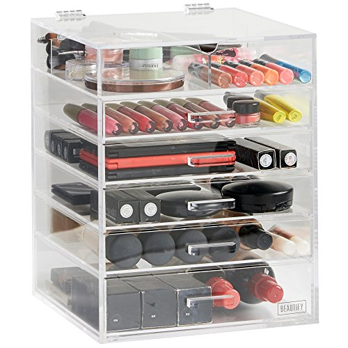Beautify-Large-6-Tier-Clear-Acrylic-Cosmetic-Makeup-Cube-Organizer-with-5-DrawersUpper-Compartment-and-Removable-Divider-118-x-945-x-945-inches-0