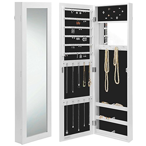 Beautify-Mirrored-Jewelry-Armoire-Door-Wall-Mounted-Organizer-Cabinet-with-Internal-External-Mirror-White-0