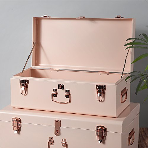 Beautify-Set-of-2-Steel-Storage-Trunks-with-Rose-Gold-Handles-College-Dorm-Bedroom-Footlocker-0-0