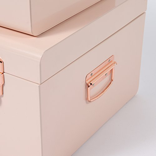 Beautify-Set-of-2-Steel-Storage-Trunks-with-Rose-Gold-Handles-College-Dorm-Bedroom-Footlocker-0-1