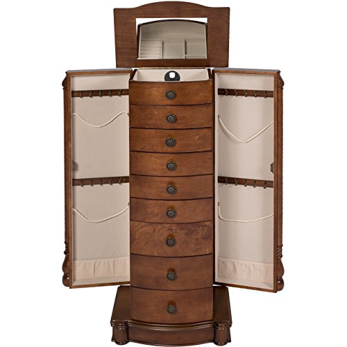 Best-Choice-Products-Armoire-Jewelry-Cabinet-Box-Storage-Chest-Necklace-Wood-Walnut-Stand-Organizer-0-0