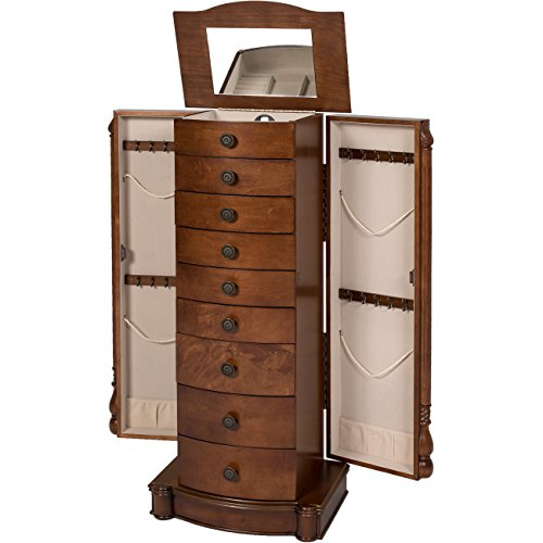 Best-Choice-Products-Armoire-Jewelry-Cabinet-Box-Storage-Chest-Necklace-Wood-Walnut-Stand-Organizer-0