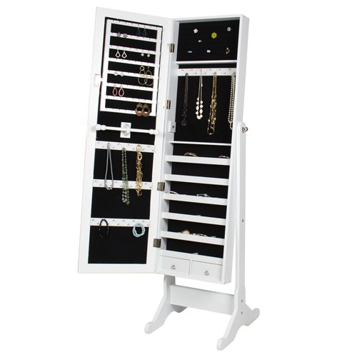 Best-Choice-Products-Mirrored-Jewelry-Cabinet-Armoire-with-Stand-White-0-0