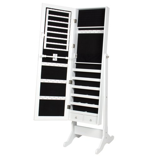 Best-Choice-Products-Mirrored-Jewelry-Cabinet-Armoire-with-Stand-White-0-1