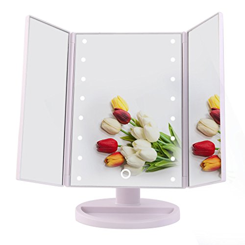 Big-House-Trifold-LED-lighted-Makeup-Mirror-Foldable-Portable-Travel-Electric-Chargeable-HD-Vanity-Mirror-with-Lights-White-0