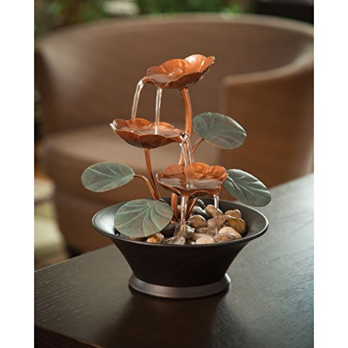 Bits-and-Pieces-Indoor-Water-Lily-Water-Fountain-Small-Size-Makes-This-A-Perfect-Tabletop-Decoration-Compact-and-Lightweight-0-0