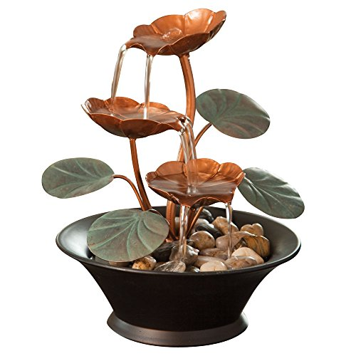 Bits-and-Pieces-Indoor-Water-Lily-Water-Fountain-Small-Size-Makes-This-A-Perfect-Tabletop-Decoration-Compact-and-Lightweight-0