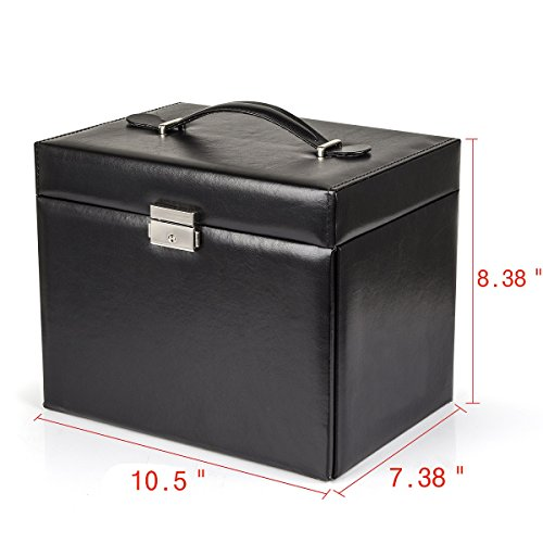 Black-Leather-Jewelry-Box-Travel-Case-and-Lock-0-1