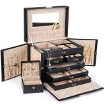 Black-Leather-Jewelry-Box-Travel-Case-and-Lock-0