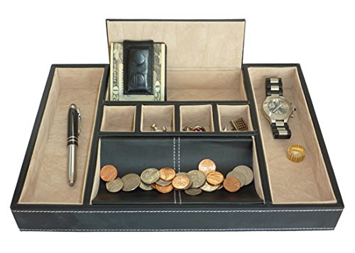 Black-Leatherette-Valet-Tray-Desk-Dresser-Drawer-Coin-Case-Catch-all-for-Keys-Phone-Jewelry-Watches-and-Accessories-0