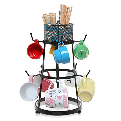Black-Metal-Scrollwork-Design-9-Hook-Countertop-Mug-Storage-Organizer-Rack-w-Removable-Accessory-Basket-0-1