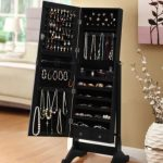 Black-Mirrored-Jewelry-Cabinet-Amoire-W-Stand-Mirror-Rings-Necklaces-Bracelets-0-0