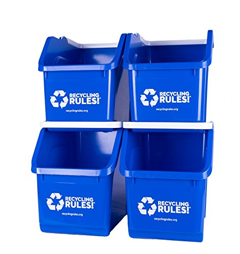 Blue-Stackable-Recycling-Bin-Container-with-Handle-6-Gallon-4-Pack-of-Bins-0