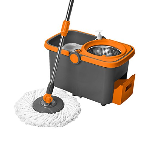 Casabella-Spin-Cycle-Mop-with-Bucket-GraphiteOrange-0-0