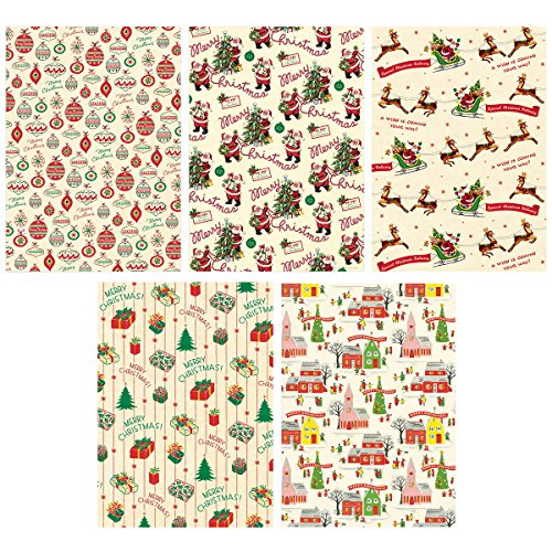Christmas-Patterns-Vintage-Style-Wrapping-Paper-Set-of-10-Sheets-0