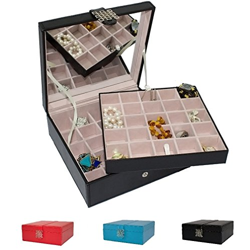 Classic-50-Section-Jewelry-Box-Organizer-Case-Holder-for-Earrings-Rings-Cufflinks-or-Collections-0