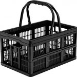 CleverMade-Collapsible-Grocery-Shopping-Basket-16-Liter-169-Quart-Black-0